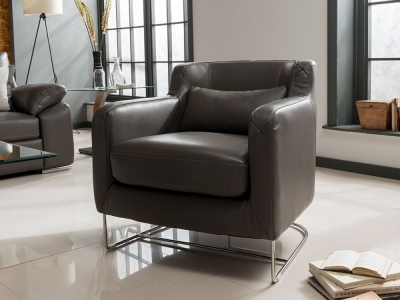Vida Living Maranello Club Leather Chair - Grey