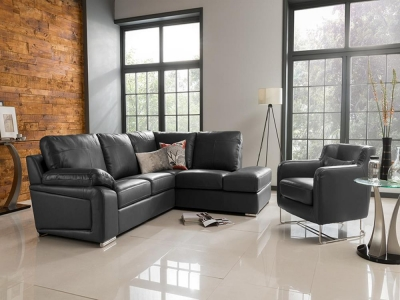 Vida Living Maranello Corner Leather Suite - Black