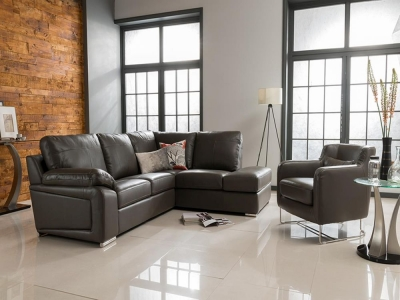 Vida Living Maranello Corner Leather Suite - Grey