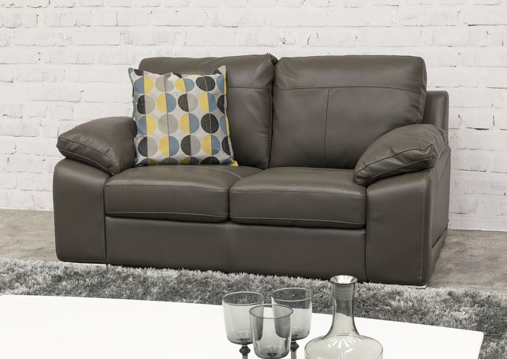 Vida Living Maranello 2 Seater Leather Sofa - Grey