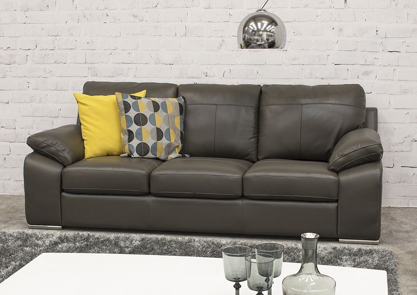 Vida Living Maranello 3 Seater Leather Sofa - Grey