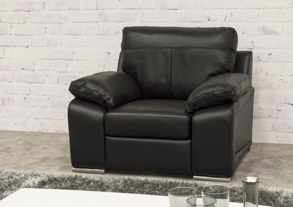 Vida Living Maranello Leather Armchair - Black