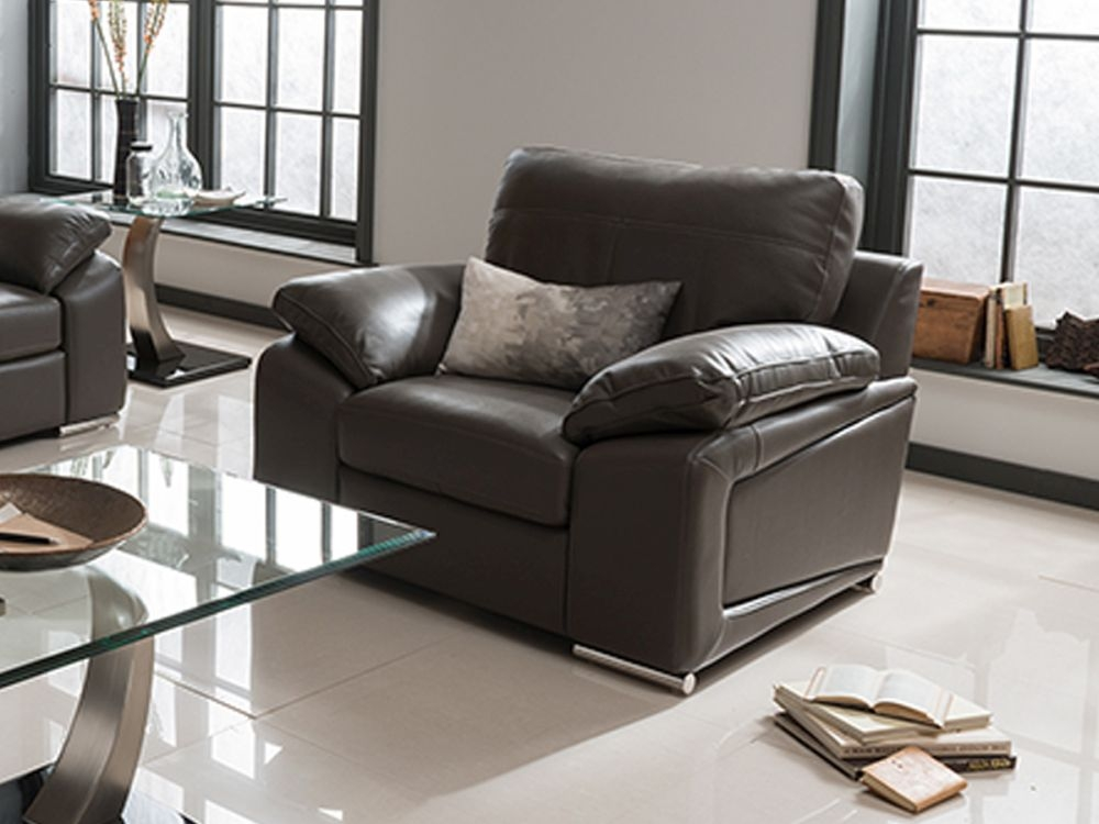 Vida Living Maranello Leather Armchair - Grey