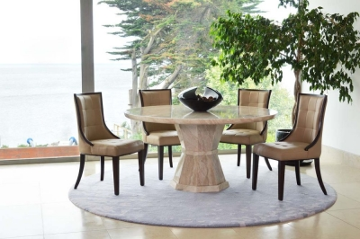 Vida Living Marcello Cream Marble Round Dining Set with 4 Beige Faux Leather Chairs - 130cm
