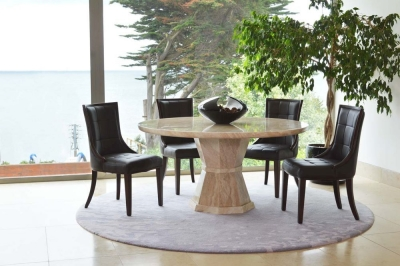 Vida Living Marcello Cream Marble Round Dining Set with 4 Brown Faux Leather Chairs - 130cm