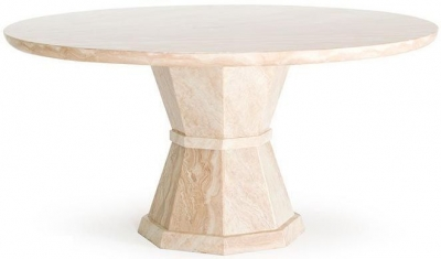 Vida Living Marcello Cream Marble Round Dining Table - 130cm
