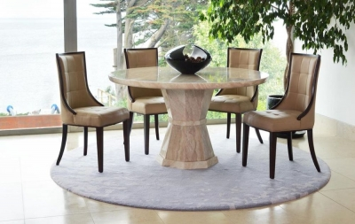 Vida Living Marcello Cream Marble Dining Set - Medium Round with 4 Beige Faux Leather Chairs