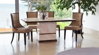 Vida Living Marcello Marble Dining Set - Rectangular with 4 Beige Faux Leather Chairs