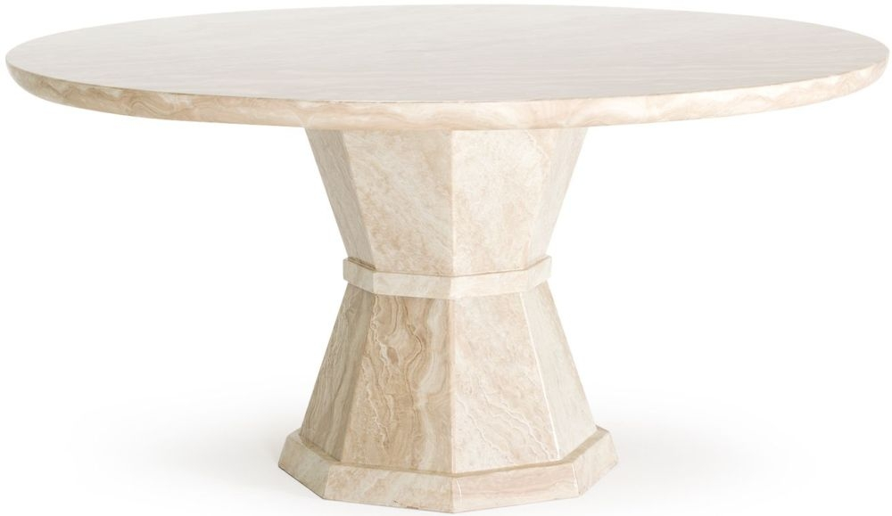 Vida Living Marcello Cream Marble Dining Table - 150cm Round Fixed Top