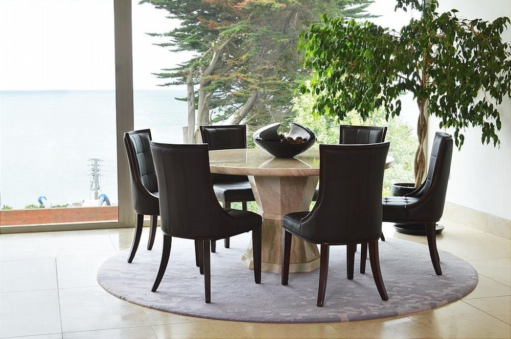 Vida Living Marcello Cream Marble Round Dining Set with 6 Brown Faux Leather Chairs - 150cm