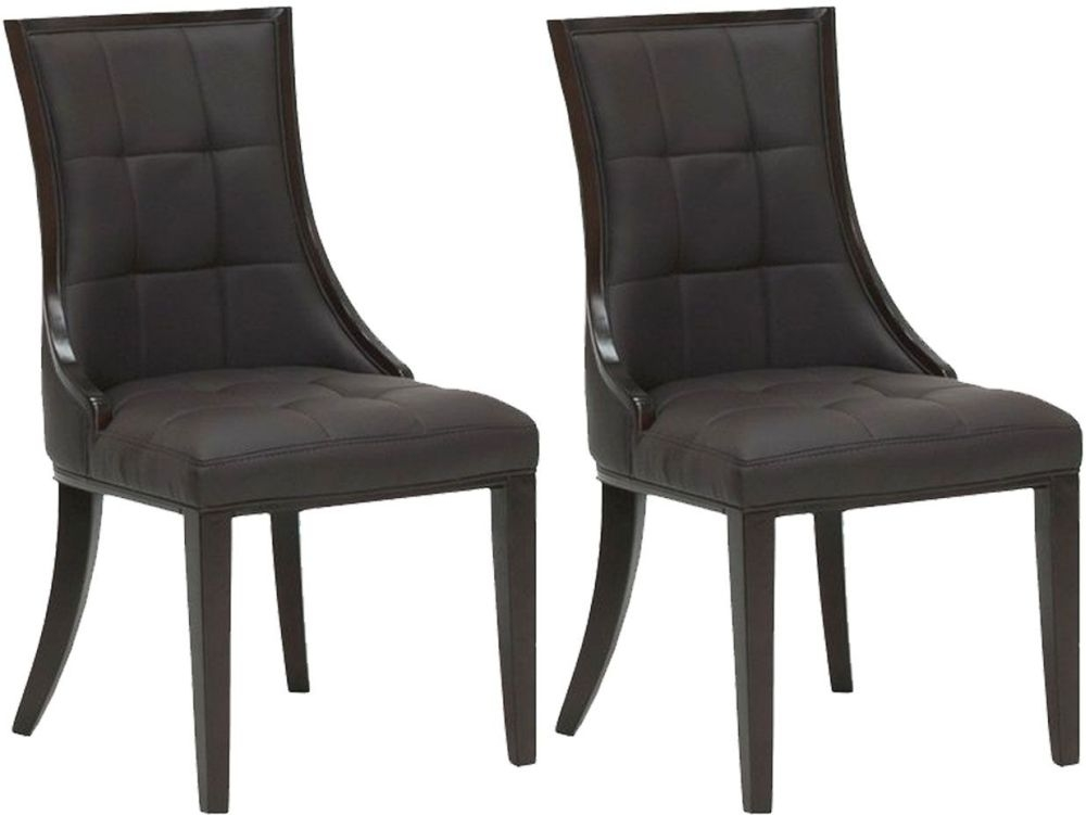 Vida Living Marcello Faux Leather Dining Chair - Brown (Pair)