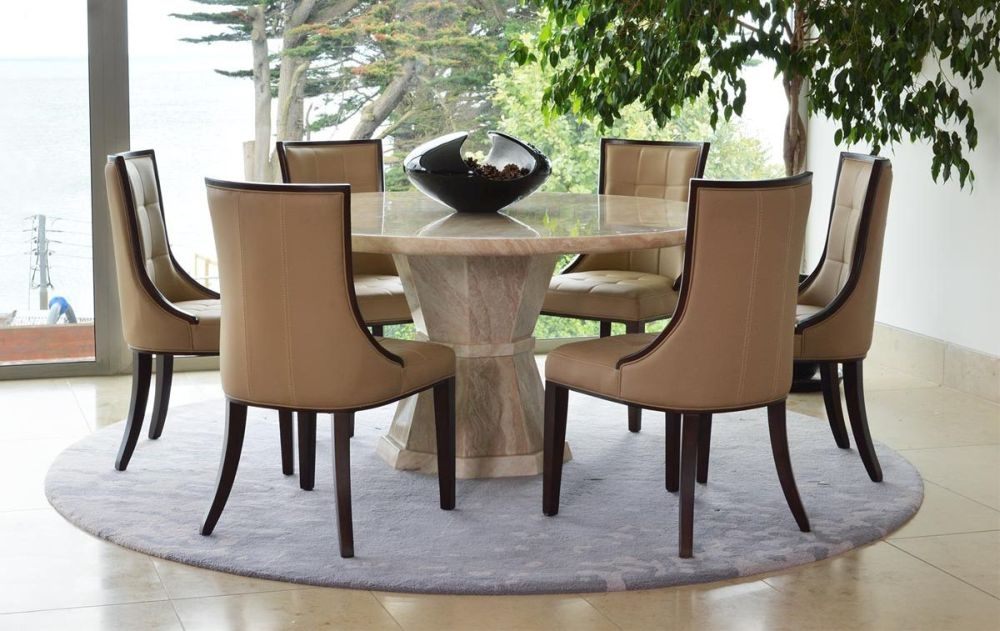 Vida Living Marcello Cream Marble Dining Set - Large Round with 6 Beige Faux Leather Chairs