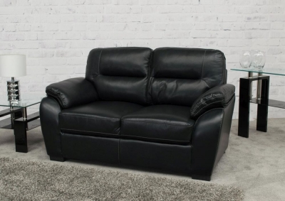 Vida Living Matteo 2 Seater Pellaria Fixed Sofa - Black