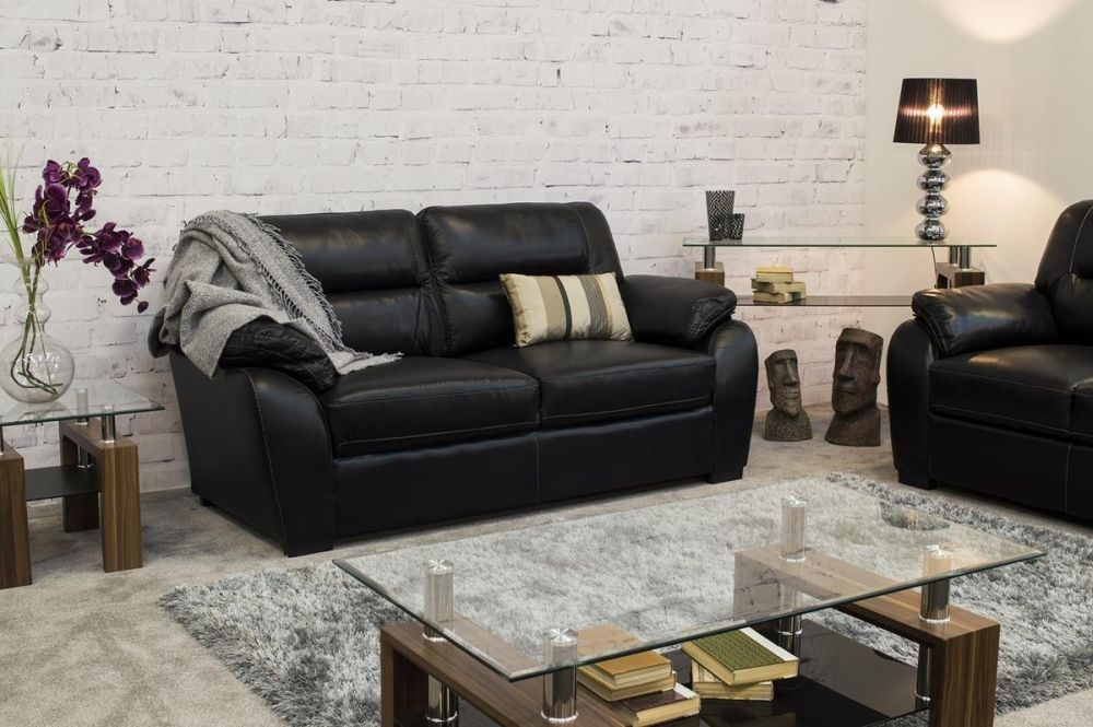 Vida Living Matteo 3 Seater Pellaria Fixed Sofa - Black