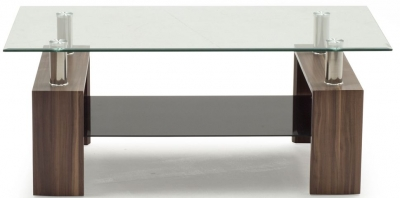 Vida Living Maya Coffee Table - Glass and Walnut