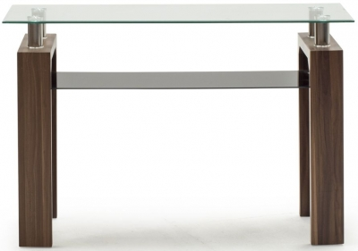 Vida Living Maya Console Table - Glass and Walnut