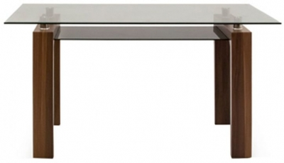 Vida Living Maya Dining Table - Glass and Walnut