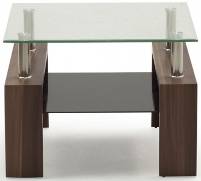Vida Living Maya End Table - Glass and Walnut