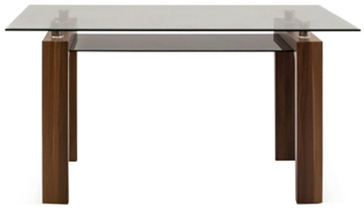 Vida Living Maya Walnut and Glass Rectangular Fixed Top Dining Table - 150cm