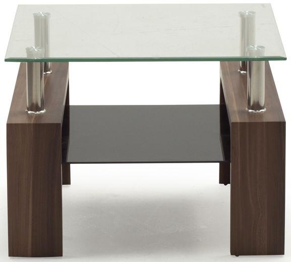 Vida Living Maya End Table - Glass and Walnut