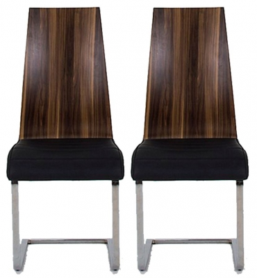 Vida Living Messina Walnut Black Dining Chair (Pair)