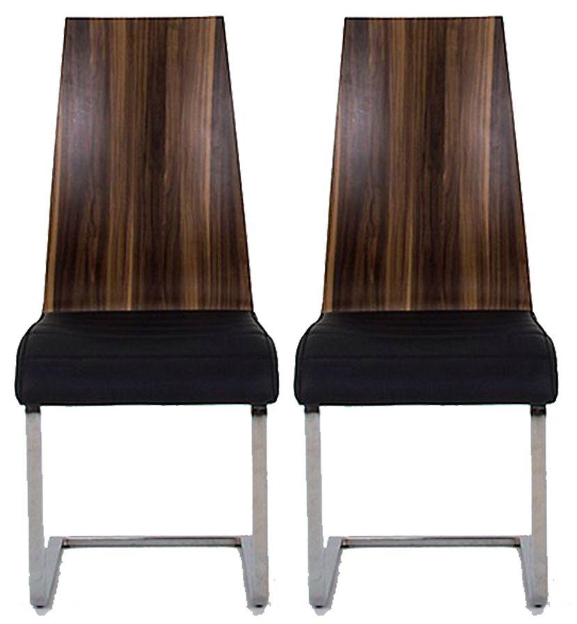 Vida Living Messina Walnut Black Dining Chair (Pair)