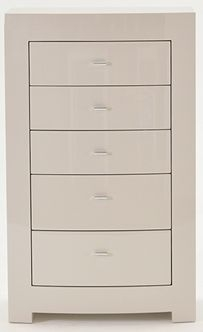 Vida Living Mirelle Grey Gloss Chest of Drawer - 5 Drawer Tall