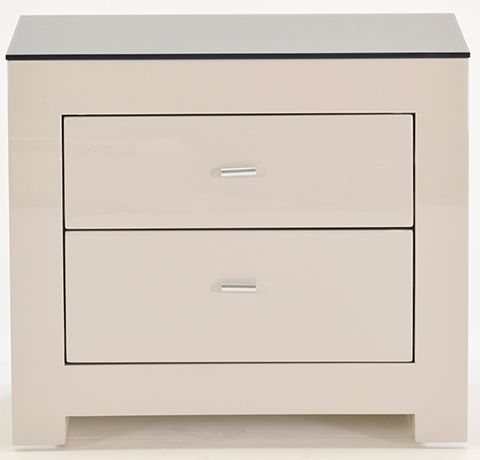 Vida Living Mirelle Grey Gloss Bedside Cabinet - 2 Drawer