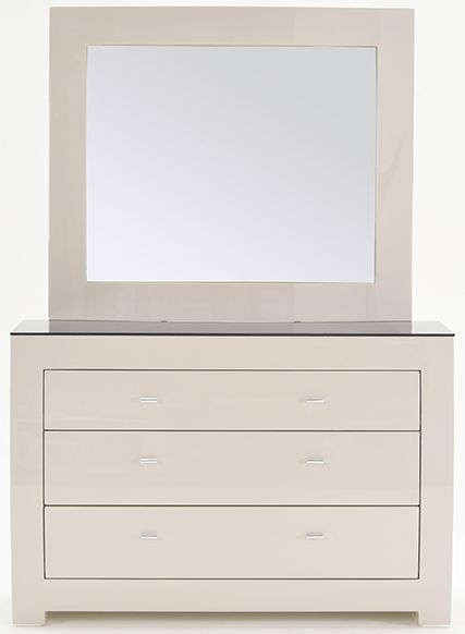 Vida Living Mirelle Grey Gloss Dressing Chest with Mirror