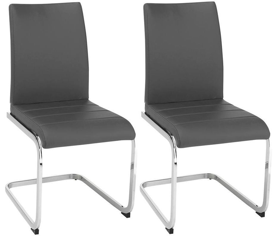Vida Living Mobo Grey Faux Leather Dining Chair - (Pair)