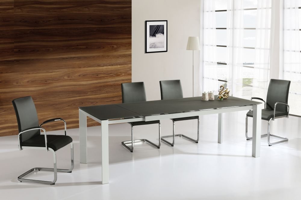 Vida Living Mobo Grey High Gloss Dining Set - Large Extending with 6 Dining Chairs