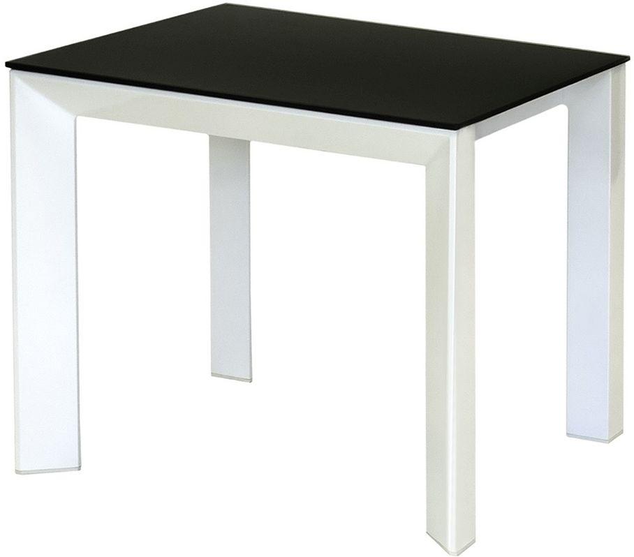 Vida Living Mobo Grey High Gloss and Black Glass Lamp Table
