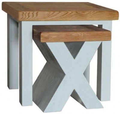 Vida Living Monroe Grey Painted Nest of Tables