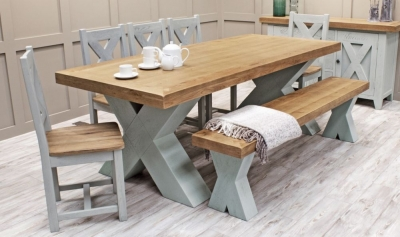 Vida Living Monroe Grey Painted Rectangular Dining Set with Oak Chairs and Bench - 190cm