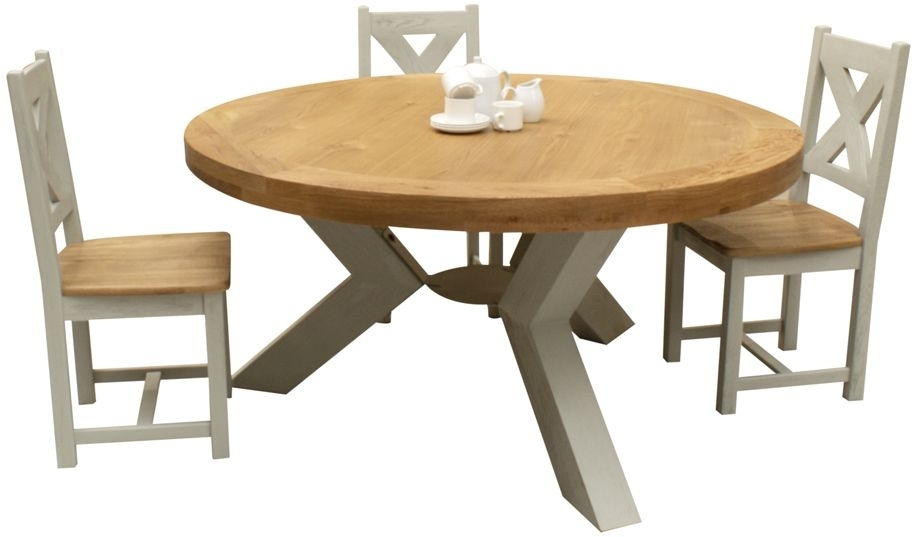 Vida Living Monroe Round Dining Table and Chairs - Oak and Grey Painted