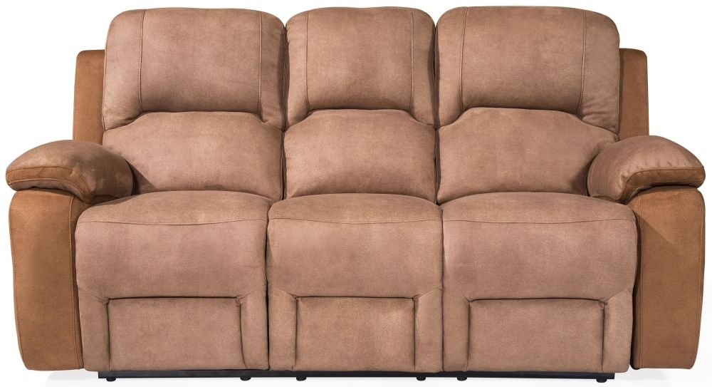 Vida Living Monterray Brown 3 Seater Fabric Recliner Sofa
