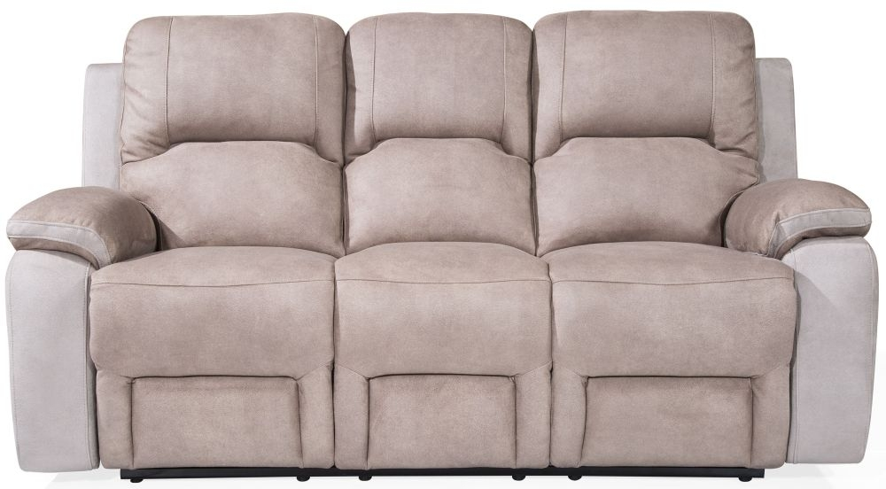 Vida Living Monterray Grey Fabric 3 Seater Recliner Sofa
