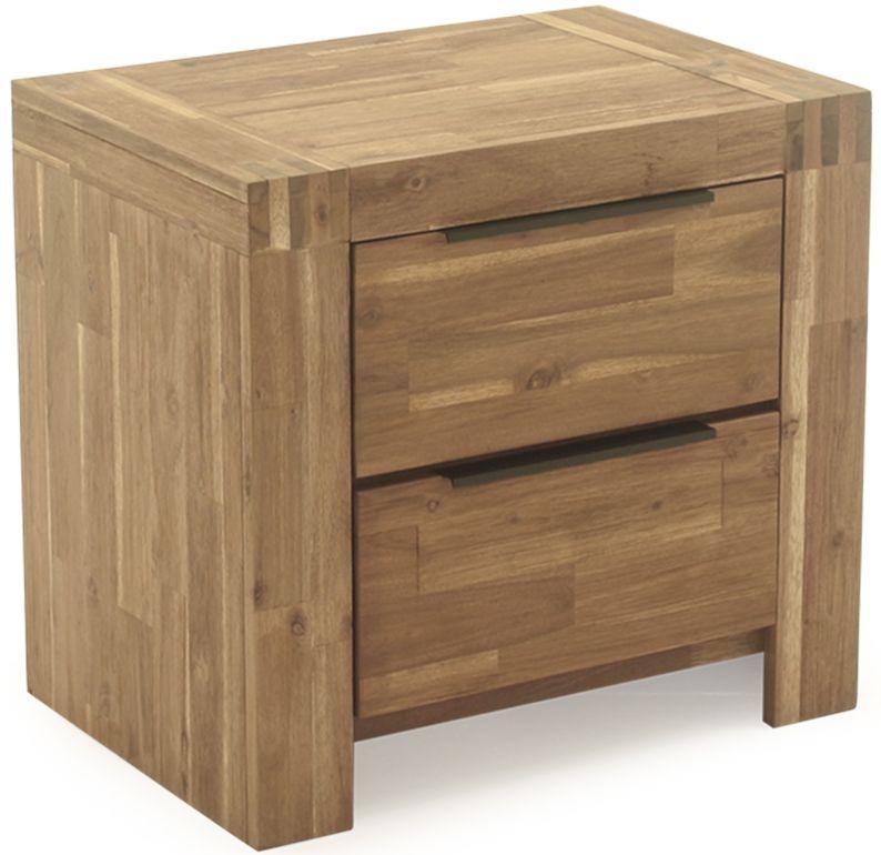 Vida Living Montreal Natural Acacia 2 Drawer Bedside Cabinet