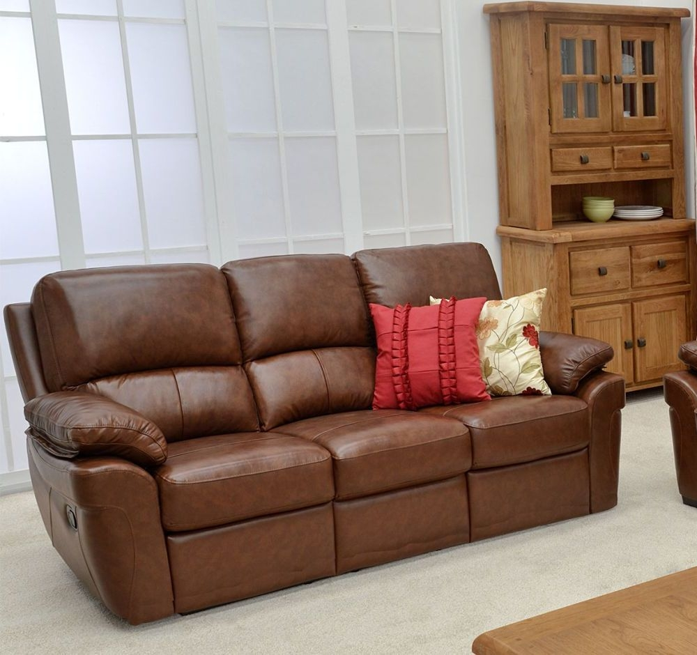 Vida Living Monzano 3 Seater Fixed Sofa - Old Saddle Brown
