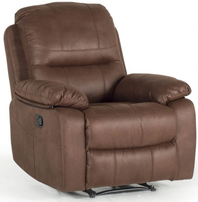 Vida Living Morley Dark Brown Fabric 1 Seater Recliner Armchair