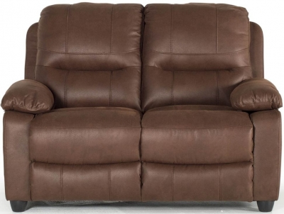Vida Living Morley Dark Brown Fabric Fixed 2 Seater Sofa