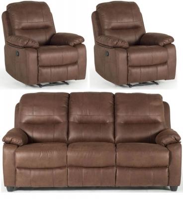 Vida Living Morley Dark Brown Fabric Sofa Suite - 3+1R+1R Seater