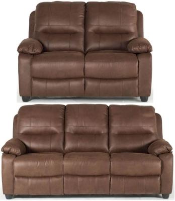 Vida Living Morley Dark Brown Fabric Sofa Suite - 3+2 Seater