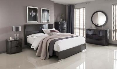 Vida Living Movada Grey High Gloss Bed