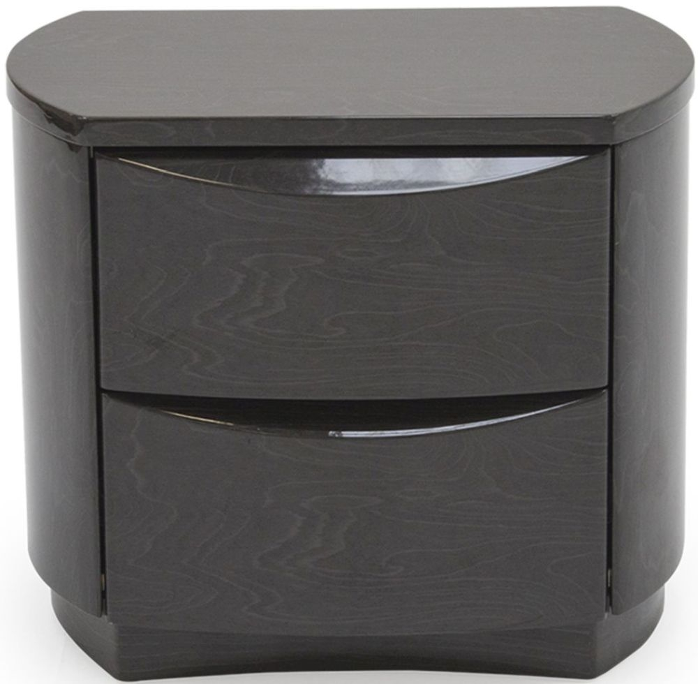 Vida Living Movada Grey High Gloss 2 Drawer Bedside Cabinet