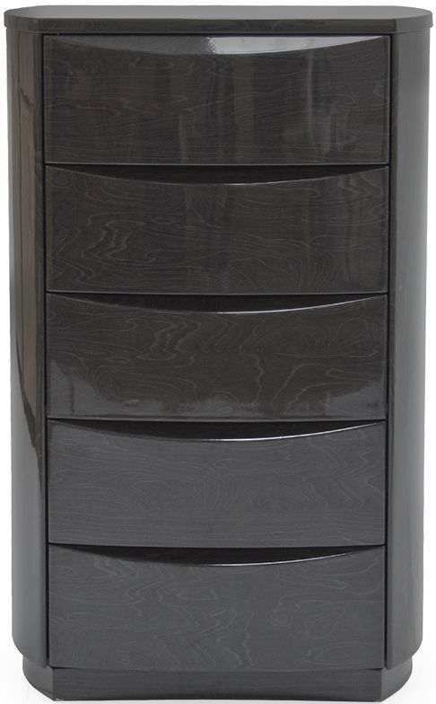 Vida Living Movada Grey High Gloss 5 Drawer Tall Chest