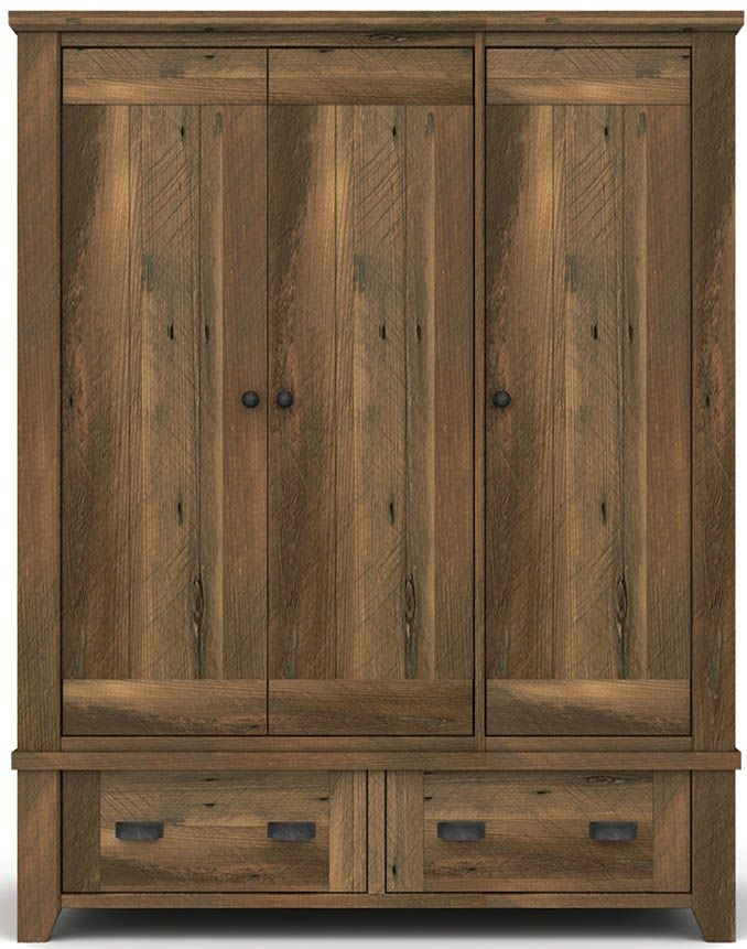 Vida living new forest reclaimed pine 3 door wardrobe for Furniture village wardrobes
