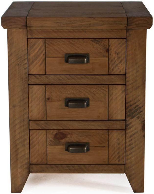 Vida Living New Forest Reclaimed Pine 3 Drawer Bedside Cabinet