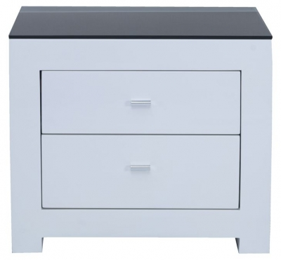 Vida Living Newport White Gloss Bedside Cabinet - 2 Drawer