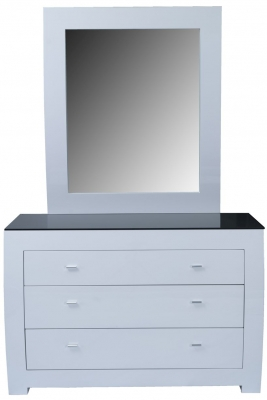 Vida Living Newport White Gloss Dressing Chest with Mirror